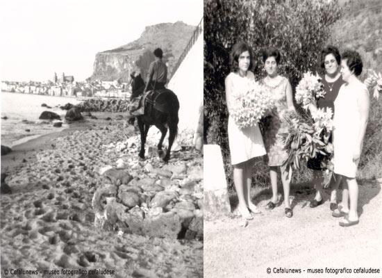 Foto a dx: Lunomare di Cefalù- Foto a dx Pina, Iole, mamma Maria ed Angela Li Pira