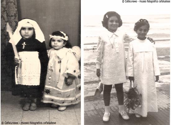 Foto sx: le mipotine di Giuseppe: Angela e Rosalba Li Pira vestite per andare alla processione del Venerdì santo. Foto a dx : Comunione della nipotina Li Pira