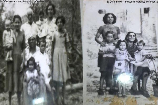 Foto sx: battaglia Giuseppe e Nazareno Maria con le figlie Maria e Santa ed i nipotini- Foto a dx Maria con la sorella santa ed i figli