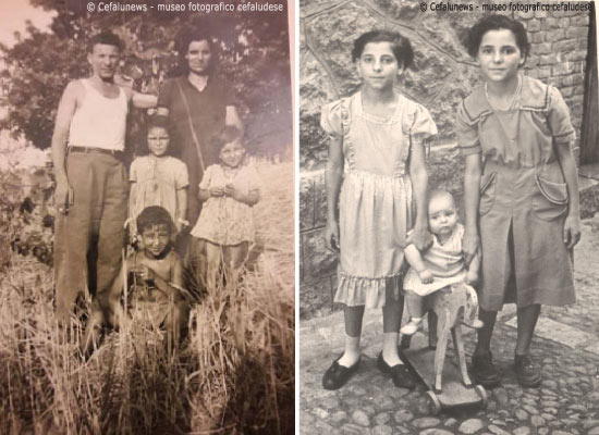 Foto a sx: Giuseppe Glorioso e la moglie Maria con i figli Iole, Pina e Pippo. Foto a dx: I figli di Giuseppe Pina , Iole ed il piccolo Romeo
