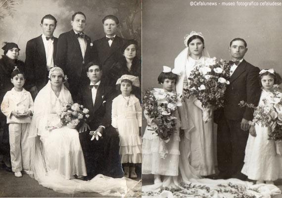 Foto sx: Peppe Forte il 1° a dx in alto con i fratelli nel giorno del matrimonio della sorella; Foto dx: Il fratello di Peppe Forte nel giorno del matrimonio