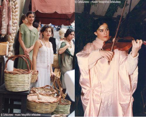 """A sinistra: 1994, Maria Elisa in una scena del film di Marco Bellocchio """"Mario ed il mago"""" di Klaus Maria Brandauer girato a Cefalù. A destra: Maria Elisa nelle vesti di angelo"""