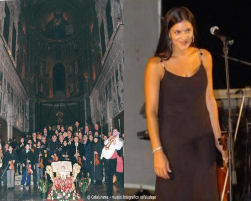 A sinistra: Cattedrale di Cefalù, Ninnariedda alla vigilia di Natale. FA destra: Maria Elisa si esibisce