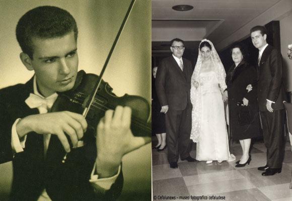 foto sx: 1959 ritratto di Salvo Cicero con il suo violino – foto dx Salvo Cicero sposa Angela Maria Giardina , nella foto con papà Pasquale e mamma Annetta
