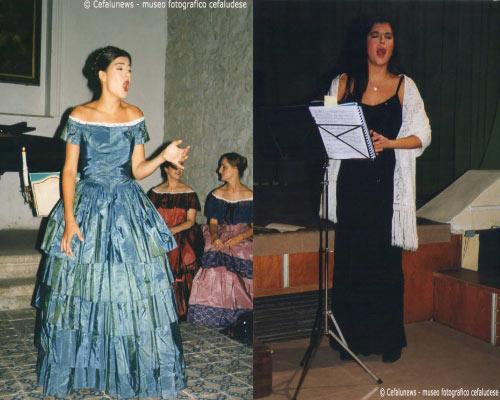 A sinistra: Maria Elisa nelle vesti di cantante lirica. A destra: Maria Elisa si esibisce cantando