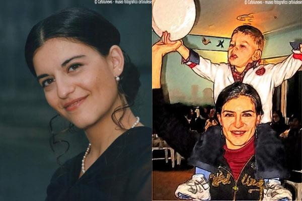 Foto a sx : Un primo piano di Maria Elisa. Foto a dx: Maria Elisa in un dipinto con il suo amato figlio Marco