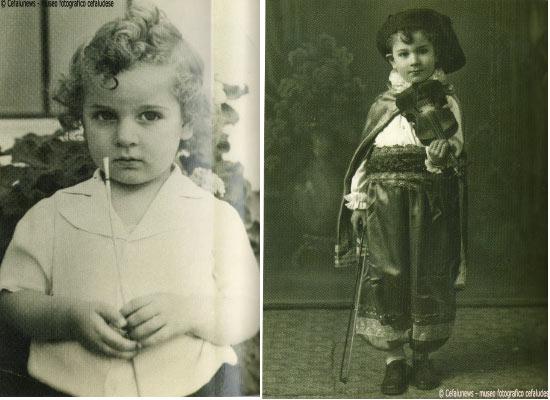 A sinistra Salvuccio nel 1943 all'età di 3 anni. A destra nel 1945 durante un carnevale all'età di 5 anni