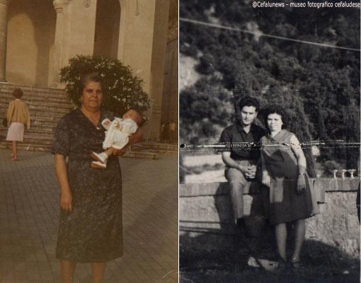 Foto sx : Gibilmanna , battesimo di un nipotino, mamma Nunzia che tiene in braccio un nipotino Foto dx : Pietro Forte figlio di Peppe con la moglie