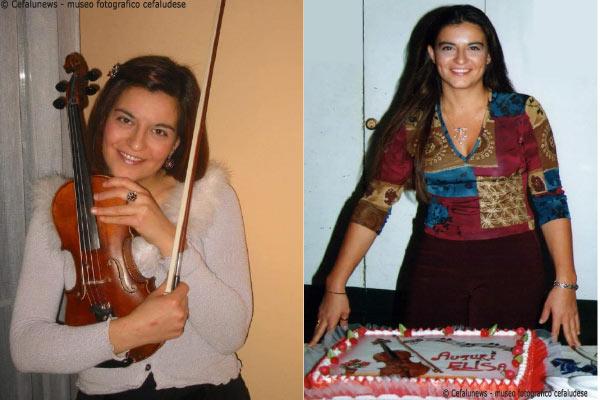 A sinistra: Maria Elisa abbraccia il suo amato violino. A destra: Maria Elisa posa per uno dei suoi compleanni.