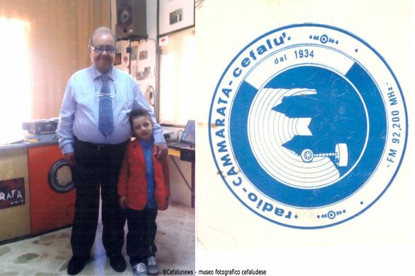 Foto a sx Adriano Cammarata con l'erede , il nipotino Giosuè figlio di Federico e Laura Di Piazza ; foto a dx il logo di Radio Cammarata