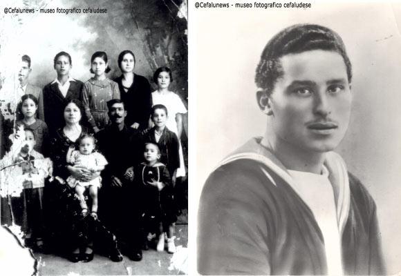 foto a sx : 1937 Gianni Cefalù quindicenne in una foto ricordo di famiglia. Gianni dietro a mamma Rosa ; foto a dx Gianni Cefalù in una foto ricordo da militare