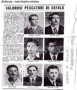 Giornale di sicilia del novembre del 1955 con l'articolo in cui vengono elogiati i 7 pescatori cefalutani che avevano effettuato l'eroico salvataggio