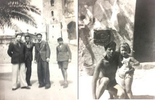 foto a sx Peppe Serio marito di Marietta con amici in Piazza Duomo; Foto dx il figlio di Marietta, Salvatore davanti l'uscio di casa nel cortile Padre Camillo