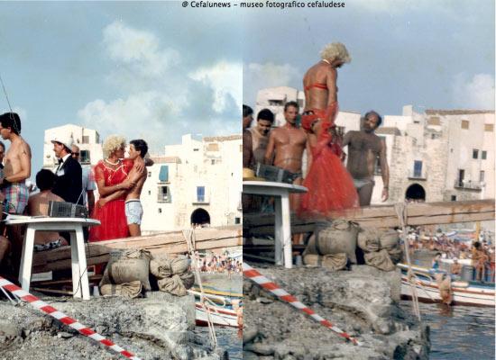 """foto a sx Perito """"donna Giuseppina"""" abbraccia il giovane Brocato; foto a dx """"donna Giuseppina""""sul palo della Ntinna a mari"""