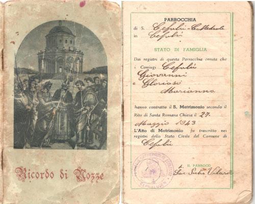 Libretto di matrimonio di Gianni Cefalù e Marianna Glorioso avvenute nella cattedrale di Cefalù il 27 maggio 1943