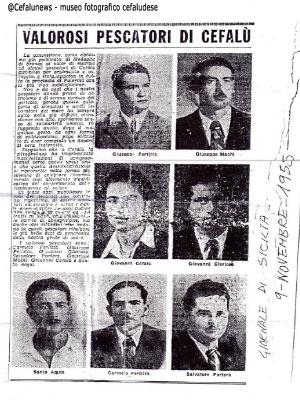 Articolo Giornale di Sicilia del novembre del 1955 in cui vengono elogiati i 7 pescatori Cefalutani che avevano effettuato l'eroico salvataggio il 1 marzo 1951