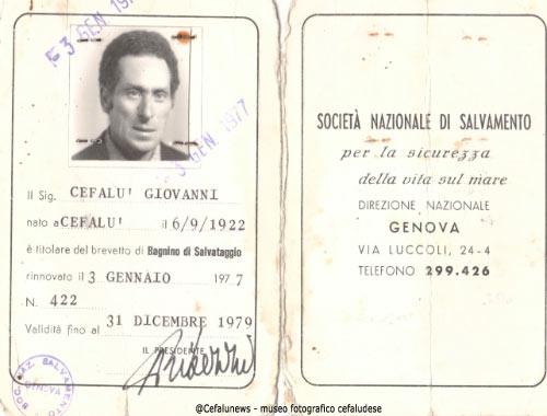 Brevetto di bagnino conseguito da Gianni Cefalù nel 1980