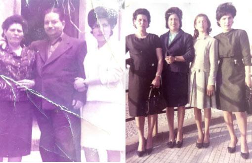 foto a sx 1960 Marietta con il marito Peppe Serio e la figlia Rosa; fopto a dx Marietta con le figlie, da sx Marietta , Concetta, Filomena e Rosa