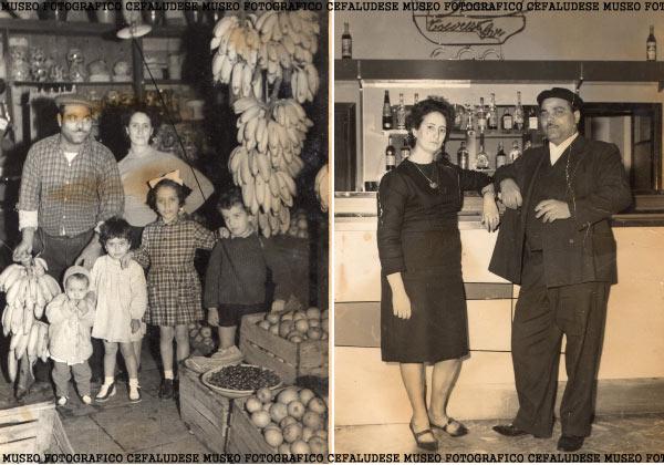 Foto a dx: Castè con la sua amata Antonia dopo il matrimonio. Foto a sx Castè ed Antonia con i loro 4 figli: Antonia, Pinuzzu, Pina, Maria