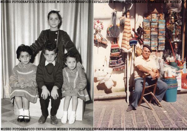 Foto a dx: Castè davanti il suo negozio di Corso Ruggero ; Foto a sx i figli di Castè in posa dal fotografo : seduti: carmela, Pinuzzu, Pina , in piedi Antonia