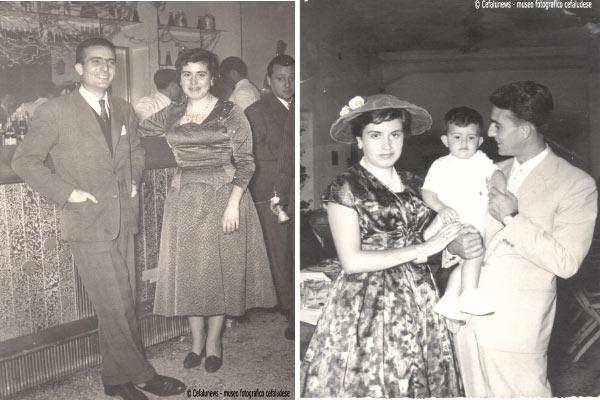 Foto a sx- 1956 Bar S. Lucia : Giovanni e Laura sposini ; Foto a dx 1958 Giovanni e Laura con il primogenito Nicola