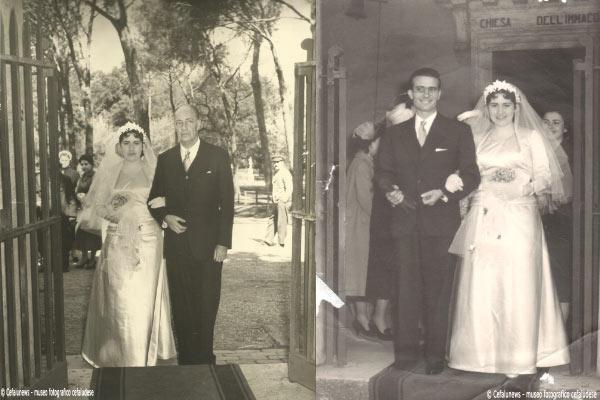 1956 Roma -Foto a sx: Luigi Frezza accompagna la figlia Laura all'altare; Foto a dx: Giovanni e Laura sposi