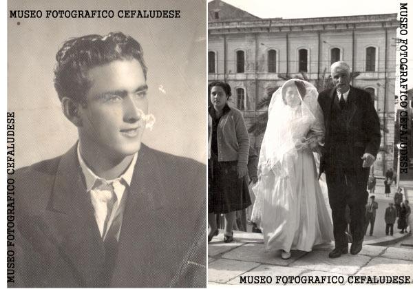 1955-Matrimonio di Vincenzo e Angela. L'arrivo dello sposa in Cattedrale con papà Giuseppe - a sinistra un ritratto di Vincenzo Fertitta